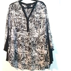 22/24 Lane Bryant Print Georgette Popover Top